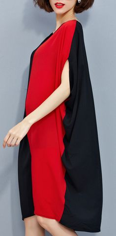 stylish-red-black-patchwork-chiffon-polyester-dresses-trendy-plus-size-traveling-clothing-top-quality-batwing-sleeve-clothing3