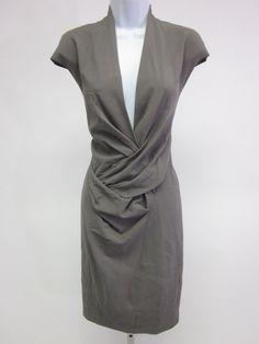 NWT HELMUT LANG Gray V Neck Sleeveless Knee Length Dress Sz 6  at www.ShopLindasStuff.com