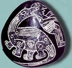 The Ica stones of Peru are considered fakes but there are 15,000 of them discovered thus far. This one depicts a dinosaur eating a man.