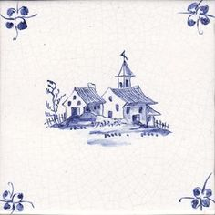 Delft windmill tiles, blue and white buildings tiles and tin glazed cobalt decorated landscape tiles