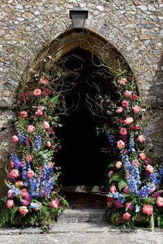 Church flowers arch entrance display pink blue summer floral artistic farm wedding http:// Church Wedding Flowers, Church Wedding Decorations, Wedding Entrance, Farm Wedding, Wedding Bouquets, Garden Entrance, Entrance Ideas, Wedding Lanterns, Wedding Dresses