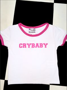 ~*~*CRYBABY~*~ DONT CRY~*~*~   Round neck cropped ringer tee Cotton elastane blend All over stretch