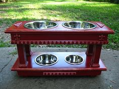 Double Elevated Dog Bowl Feeder Two Dog by countrymanspetfeeder
