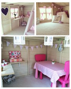 Playhouse interior decor ideas because you know our Santa always customizing eve. Playhouse Decor, Playhouse Interior, Girls Playhouse, Backyard Playhouse, Build A Playhouse, Childrens Playhouse, Playhouses For Girls, Inside Playhouse, Playhouse Ideas