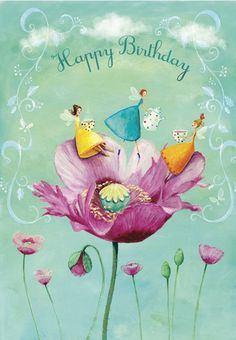 Happy Birthday with girls in poppy artist illustration by www.MilaMarquis.com and www.Facebook.com/MilaMarquisillustration