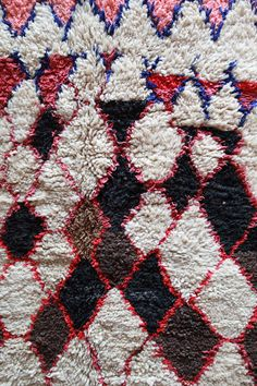 Moroccan Rug, boucherouite with wool https://www.etsy.com/shop/pinkrugco