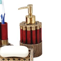 Shotgun Shell Soap Dispenser - A Black Forest Decor Exclusive - The Shotgun Shell Soap Dispenser features polyresin replicas of shotgun shells and weathered wood. Redneck Crafts, Ammo Crafts, Hunting Crafts, Camping Crafts, Shotgun Shell Art, Shotgun Shell Crafts, Shotgun Shells, Bullet Casing Crafts, Bullet Crafts