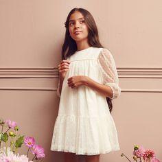 Sukienka Dziewczęca MINIMI 17/20 Kolor Kremowa ROZM.122-146 White Dress, Dresses, Fashion, Vestidos, Moda, Fashion Styles, Dress, Fashion Illustrations, Gown