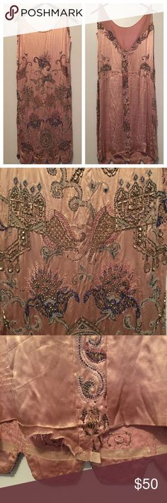 Vintage Charmeuse Beaded Shift - Size Small Gorgeous vintage beaded dress. Beading is in fair to good condition and back hem has dropped but can easily be tacked and fixed. Stunning beadwork and color! Worn twice. Vintage Dresses Midi
