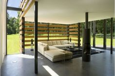 Modern Out Door Living, Outside living like this brings both elements of the outside and inside with a roof. You can spend time out here even when it is raining - See more at Home and Garden Design...