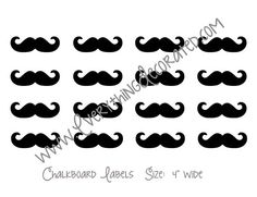 Mustache Chalkboard Labels Set of 16 by EverythingDecorated, $9.99