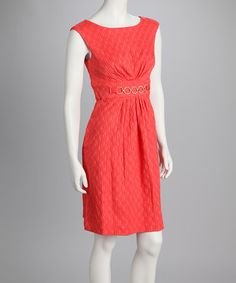 Take a look at this Coral Jacquard Sleeveless Dress by Sandra Darren on #zulily today!