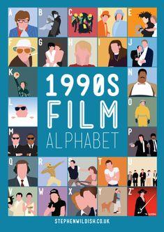 1990′s Film Alphabet, Poster That Quizzes Your 1990s Movie Knowledge via laughingsquid