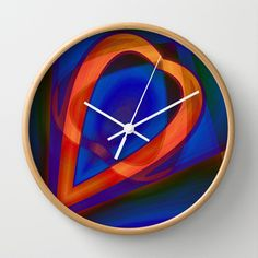 Glowing heart Wall Clock by Christine baessler - $30.00
