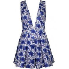 LUCLUC Blue Floral Print V-Neck Playsuit (€24) ❤ liked on Polyvore featuring jumpsuits, rompers, playsuit, playsuit romper, floral romper, floral rompers, blue romper and flower print romper
