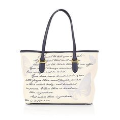"""Cinderella Collection: Mother's Message Tote - """"I want to tell you a secret. A great secret that will see you through all the trials that life can offer. You must always remember this: Have courage, and be kind. You have more kindness in your little finger than most people possess in their whole body, and kindness has power. Where there is kindness, there is goodness. And where there is goodness, there is happiness."""