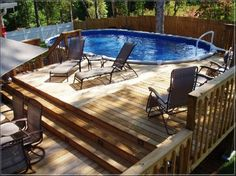 above ground pool with deck - Google Search