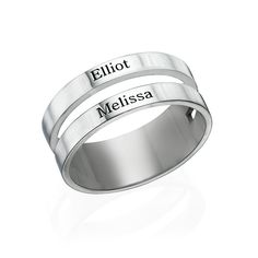 <b> <a class=ProductGlossary data-articleid=287>Resize</a> Your Ring for FREE!</b><br><br>Add some style to your jewelry collection by customizing this name engraved ring. This double banded ring can be personalized with a name on each band. The ring is made of sterling silver and also available in <a href=./product.aspx?p=5048>18k gold plating</a> and <a href=./product.aspx?p=5156>18k...