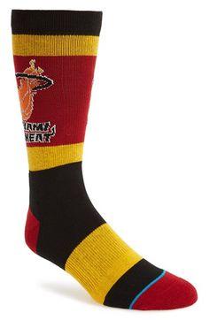 Men's Stance 'Miami Heat' Combed Cotton Blend Socks - Black