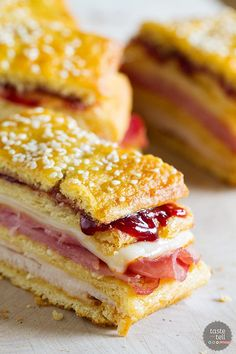 A favorite sandwich - the Monte Cristo - takes a different form in this sandwich loaf that has layers of crescent dough, turkey, ham, cheese, and raspberry jam. This Monte Cristo Sandwich Loaf is perfect for potlucks or picnics.
