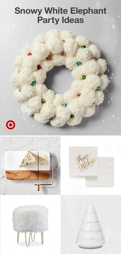 From eggnog to decor—find frosted and elevated white elephant gift exchange ideas & party must-haves. Diy Christmas Gifts, Christmas Projects, All Things Christmas, White Christmas, Holiday Crafts, Holiday Fun, Vintage Christmas, Christmas Holidays, Christmas Wreaths