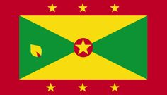 The flag of Grenada was officially adopted on February 7, 1974.           Red is symbolic of courage, yellow of wisdom and warmth, and green of vegetation. The left green triangle features a small nutmeg, the most famous product of the island. The gold outer stars represent the six parishes, and the centered star represents the capital city of St. George's