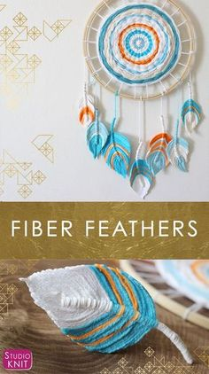 Fiber Feathers - A Fun Boho Diy Craft Everyone Can Make Learn How To Craft This Easy Project With Studio Knit. Diy Dream Catcher For Kids, Dream Catcher Boho, Homemade Dream Catchers, Making Dream Catchers, Dream Catcher Mobile, Yarn Crafts, Diy And Crafts, Arts And Crafts, Paper Crafts