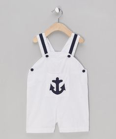 White Anchor Dungarees - Infant & Toddler by Powell Craft