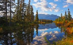 Download wallpapers Jasper National Park, autumn, lake, forest, Canada