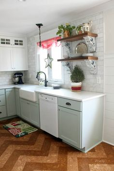 Pretty Handy Girl's Christmas Home Tour- corbels ,open shelves, backsplash to ceiling Shaker Kitchen Cabinets, Kitchen Reno, New Kitchen, Kitchen Remodel, Kitchen Dining, Kitchen Ideas, Space Kitchen, Kitchen Shelves, Cookie Cutter House