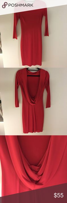 Va va voom red cowl dress Very sexy red long sleeve dress with high front and low cowl back. Stretchy, vey comfortable fabric. Hits around the knees. Great for a special date night or a bachelorette party. Dresses Backless