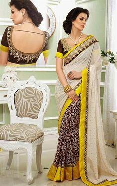 Picture of Pretty Beige Designer Saree