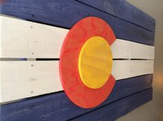 Colorado flag made of reclaimed wood. Colorado flag wall art. 3D Colorado Flag. Rustic CO Flag. Handmade, made in Colorado, made in America. Purchase here: http://aftcra.com/item/2870