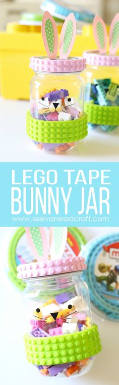 Make a DIY Easter bunny LEGO mason jar gift for kids! Perfect for a child's Easter basket or Easter party favor. Easter Candy, Easter Gift, Easter Crafts, Easter Lego, Easter Ideas, Jar Crafts, Crafts For Kids, Diy Ostern, Kid Party Favors