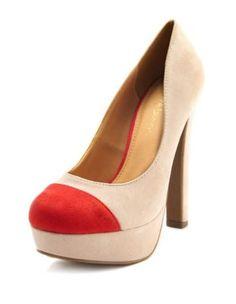 sueded thick-heel color block pump