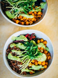 Quinoa Nourish Bowl w/ The Best Avocado Dressing - this was kind of bland. maybe spice the quinoa up a little Buddha Bowl Vegan, Whole Food Recipes, Cooking Recipes, Vegetarian Recipes, Healthy Recipes, Paleo Food, Clean Eating, Healthy Eating, Avocado Dressing