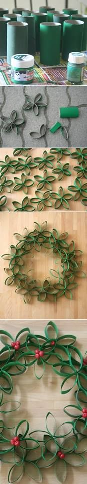 DIY recycled Christmas decoration idea - Paper towel roll garland.