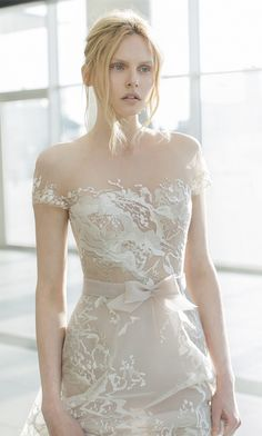 nude short sleeve wedding dresses by Mira Zwillinger 2016 stardust bridal collection Sienna