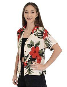 c5887b3d13e321 Ladies Hawaiian shirt blouse in pretty plumeria / hibiscus print. Lovely  soft shirt for casual
