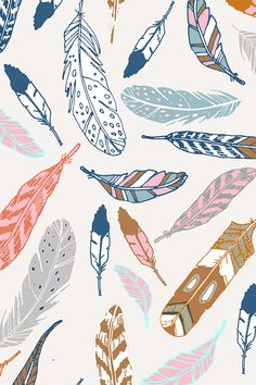 Gypsy Feathers (dijon) by nouveau_bohemian. Falling feathers is pink, blue, tan, gold, navy, and peach. Beautiful hand illustrated feathers available in fabric, wallpaper, and gift wrap.