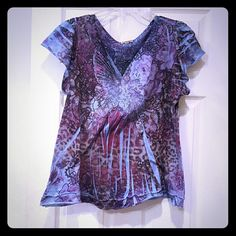 Casual decorative top Butterfly pattern on front. Short sleeve. Great condition ONE WORLD Tops Tees - Short Sleeve