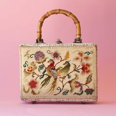 MAGID JAPAN Original Box Bag RARE White Rattan Needlepoint Handbag Bamboo Handles Birds Butterfly Early Wicker Post War Japan Vintage 1950's
