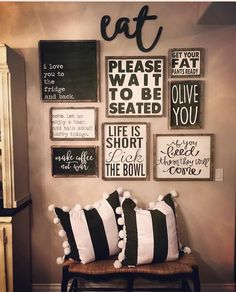 Best Dining Room Wall Decor Ideas 2018 (Modern & Contemporary Pictures) - All About Decoration Kitchen Gallery Wall, Kitchen Wall Pictures, Gallery Wall Art, Rustic Gallery Wall, Wall Decor Pictures, Room Decor For Teen Girls, Dining Room Wall Decor, Dining Room Picture Wall, Dining Room Quotes
