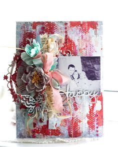 Canvas with photo. I used The Optimist Word Set, Gabrielle Butterfly Set, Floral Clock