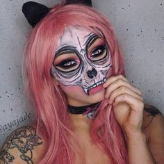 Combining the two of the most common costumes you see on Halloween  A cat  and a skull  Cat skull makeup inspired by @francescosanseverinomakeup awesome af cat mask  Products used: @bhcosmetics blushed neutrals & modern mattes palette with @elfcosmetics black gel liner for the eyes. @mehronmakeup paradise paint in black, white, brilliant silver for the face and collar. Brown eyeshadow used for shading