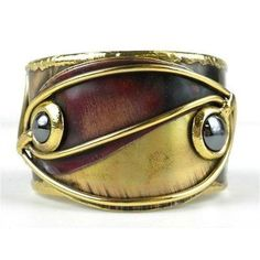 Cuff, Bracelet, Continuity Hematite Copper and Brass Cuff - Brass Images (C) Cuff Jewelry, Copper Jewelry, Cuff Bracelets, Engraved Jewelry, Brass Cuff, Copper And Brass, Polished Brass, Silver Pendant Necklace, Sterling Silver Necklaces