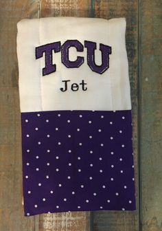 A personal favorite from my Etsy shop https://www.etsy.com/listing/270891386/tcu-burp-cloth-sports-burp-cloth-baby