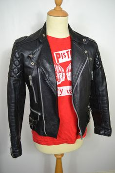 Vintage 1970s English Made Black Leather Motorcycle Cafe Racer Jacket 36 Small | eBay