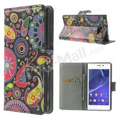 Paisley Pattern Wallet Leather Magnetic Case w/ Stand for Sony Xperia M2