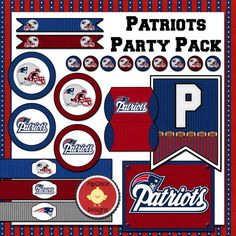 Patriots Printable Party Pack  Superbowl football party printables  flipchickdesigns on Etsy